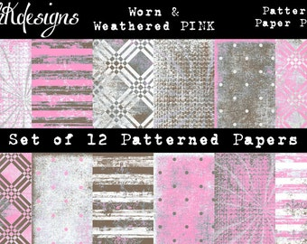 Worn & Weathered PINK Digital Paper Pack