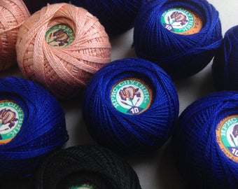 Vintage yarn mercerized cotton Iris. Yarn of the USSR. Black 5, blue 10 and pink 2 skeins. 25 grams. Price for one skein.