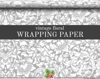 Vintage Floral Wrapping Paper | Late 1800's Floral Gray, White Wrapping Paper In Two Sizes Great For Wedding And Anniversary Gifts.