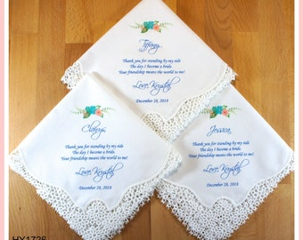 Set of 3 Bridesmaid Gifts from the Bride-Wedding Hankerchief-PRINTED-CUSTOMIZED-Wedding Handkerchief to Bridesmaids-Bridesmaid hankerchief