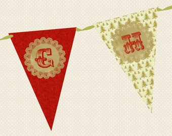 Christmas Bunting - Merry Christmas, Traditional Design in Red & Green - Made in UK