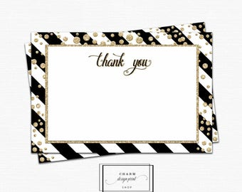 Thank you cards printable, thank you printable, thankyou cards, instant download, baby shower wedding thank you notes black gold confetti