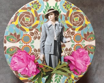 "Ingrid Bergman as Ilsa in ""Casablanca"" Decoupaged Upcycled Cookie Tin Stash Box"