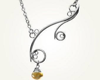 Spiral Necklace, Sterling Silver, Handcrafted, Yellow Gemstone, Citrine, Bubble, Wave, Swirl, Loop. GREEK ISLE NECKLACE with Citrine.