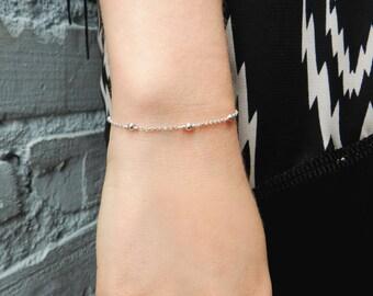 Sterling Silver Chain Bracelet, Dainty Bracelet, Silver Bead Bracelet, Bridesmaid Gift, Friendship Bracelet, Simple Bracelet, Holiday Gift