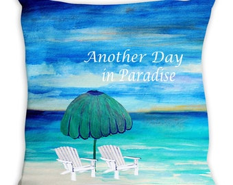 Paradise beach double sided art throw or body pillow case from my art