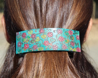 Hand Dyed  Leather Barrette