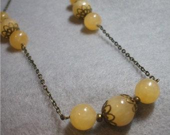 Citrine Drops Necklace on Antique Brass Chain Lemon color