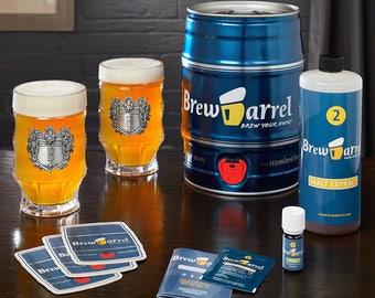 Beer Making Kit & Engraved Steins - Brew Barrel Lets Anyone Brew Beer in a Week - Great Birthday Gifts for Beer Lovers - Custom Steins