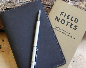Field Notes Leather Cover - Oil Brown - Customizable - Free Personalization