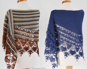 TOVAH, Crochet shawl pattern pdf