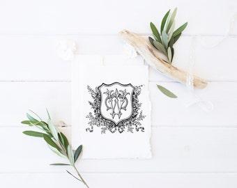 Wedding Monogram | Vintage Monogram - Wedding Logo, Monogram - Custom Wedding Monogram - WC or CW
