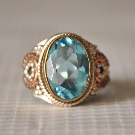 Sterling Silver Art Deco Aquamarine Ring Sz 7.25  #9849