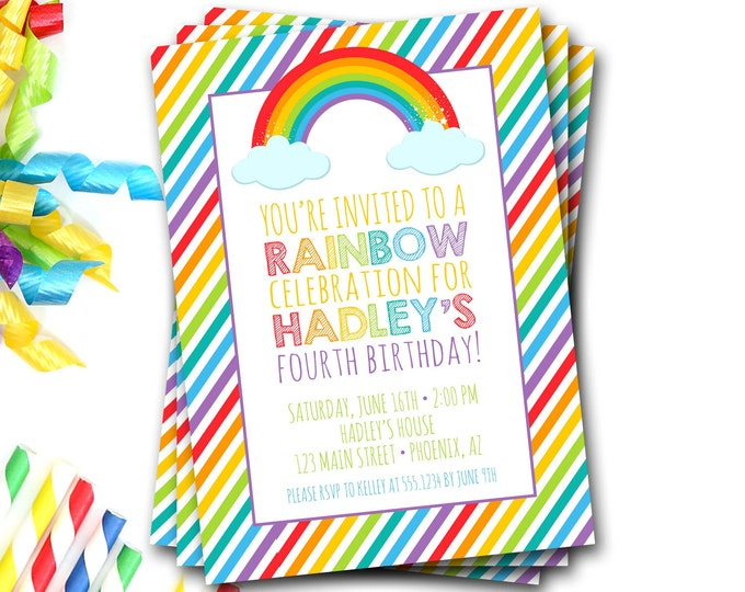 Rainbow Birthday Invitation, Rainbow Birthday Party, Rainbow Invite, Colorful, Colorful Invite, Girl Birthday, DIY Printable