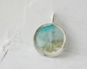 Mini Painting Necklace, Cove Painting, Ocean Art, Petite Pendant, Small Jewelry, Unique 1st Anniversary Gift, Paper Jewelry, Original Art