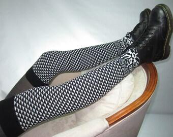 Black White Fair Isle Leg warmers Over the Knee High Boot Socks Women's Knit Tall Sock A1705