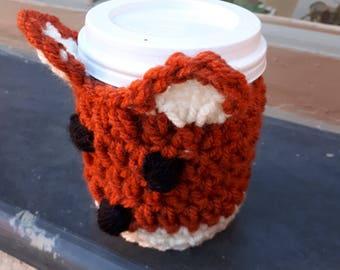 Cup cozy- Fox- coffee- takeaway- cosy- handmade-gift- Christmas-Birthday