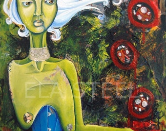 GATHERING LADYBUGS - 8x10 Matted PRINT of an Original Oil & Collage Painting by Ela Steel with ladybugs, a corset, lace choker green alien