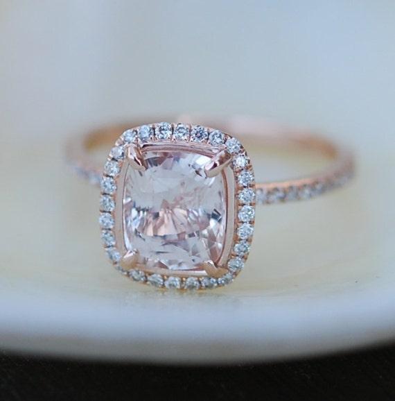White sapphire engagement ring. 14k rose gold engagement ring. Diamond ring 2.12ct cushion sapphire ring by Eidelprecious