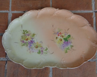 antique dresser tray victorian floral flowers cottage chic vanity perfume spring