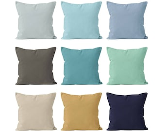 Solid Beach Pillow Covers Set Mix and Match, Nautical Ocean Beach House Decor, Solid Navy Mint Sand Beige Blue Pillow Covers 18x18 _S