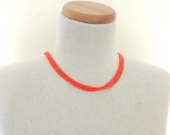 Orange necklace, orange beaded necklace, iridescent orange necklace, dainty necklace, seed bead necklace, bridesmaid gift, multistrand