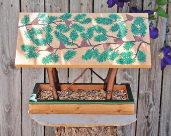 Persnickety Handmade Bird Feeder, Forest Green Pine Branches & Cones Feeder, Reclaimed Pine Wood and Natural Tree Branches, Wild Bird feeder