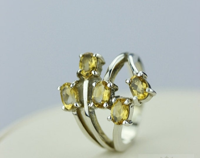 SIZE 7.5 CITRINE MULTI Layer (Nickel Free) 925 Sterling Silver Ring & Free Worldwide Express Shipping r315