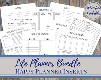 Life Planner Bundle - Classic Happy Planner Printable Insert, Contacts Page, Important Dates, Daily Planner, Mambi, Create365 7x 9.25 in