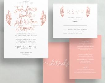 Simple Floral Watercolor Wedding Invites / Pink Coral Leaves / Hand Lettering / Semi-Custom Wedding Invitation Suite / Printed Invitations