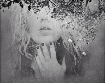 surreal dreamy portrait, woman nature photo, trees, forest, spiritual portrait print, conceptual face, home decor fine art, girl mind soul