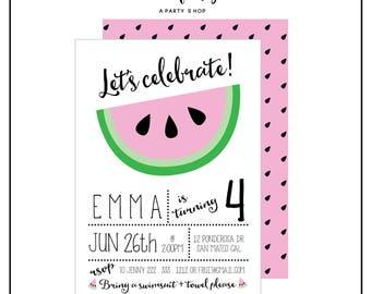 Watermelon Invitation -  Watermelon Invite - Watermelon Party - Watermelon Birthday Party // UNI - 01