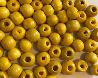 50 x 8mm abacus bright yellow wood beads.