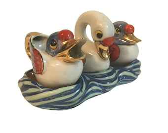 Lusterware Cream & Sugar Swan and Cygnets 4 pc Set