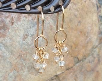 QUARTZ Earrings, clear gemstone HOOP Earrings, gold filled  handmade artisan jewelry Angry Hair Jewelry, boho earrings, boho jewelry