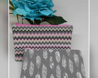 Grey & pink / feathers Makeup bag, flat zipper pouch, cosmetic bag