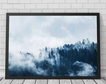 Forest Mist Art Print, Forest, Forest Print, Trees, Tree Print, Nature, Nature Photography, Printable Digital Download, Photography