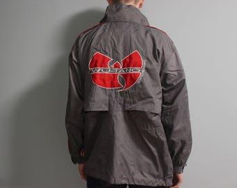 WU WEAR jacket, Wu-Tang windbreaker, vintage hip hop gray shirt, 1996 sewn authentic Wu Tang Clan jersey 90s gangsta rap size M Medium