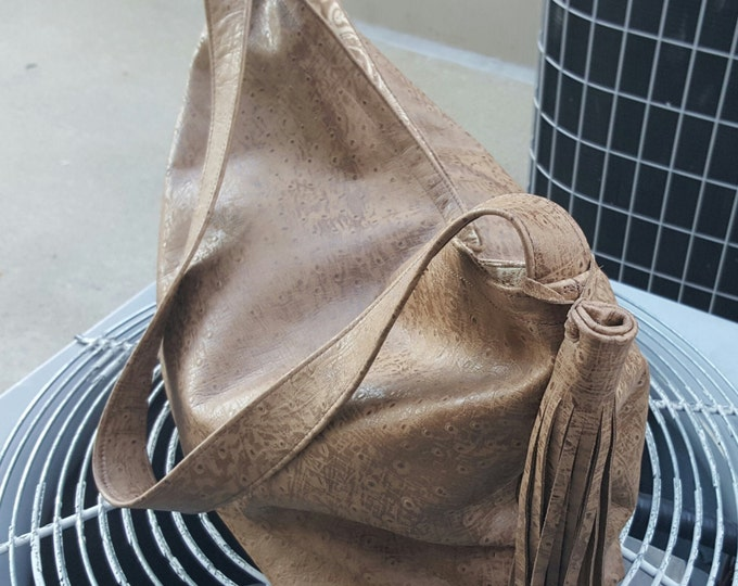 Ostrich in Tan Leather / Handbag / Day Shopper / Overflow Bag / Tote / Purse / Overnight Bag