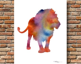 Lion Art Print Watercolor - Abstract Painting - Wall Decor
