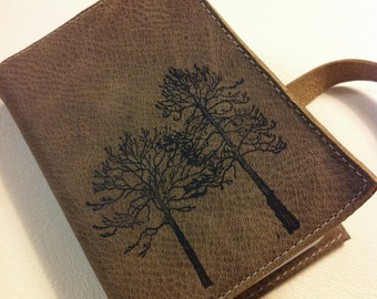 Small Leather Journal - Leather Sketchbook Cover - Pocket Journal - Leather Tree Journal - Monogram - Personalized
