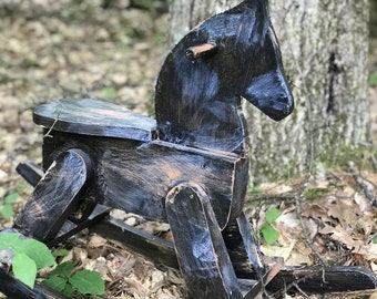 ROCKING HORSE, WOODEN, hand painted