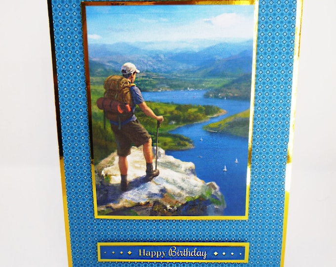 Hiking In The Countryside, Male Birthday Card, Outdoor Adventure, Boats, River and Hills, Card For Son, Card For Brother, Any Age,