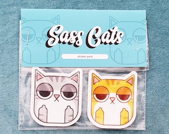 Sassy Cats 4 Sticker Bundle | cat lovers, gifts for cat lovers, cat stickers