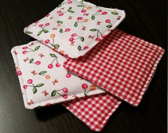 Handmade Quilted Coasters- Cherry and Checkers, Set of 4