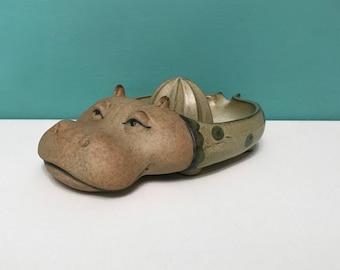 Vintage Hippo Pottery Juicer Hippopotamus Stoneware