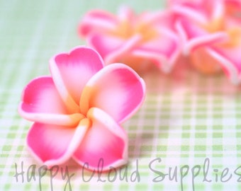 Little Neon Pink, White and Yellow Polymer Clay Plumeria Frangipani Flowers... 4pcs