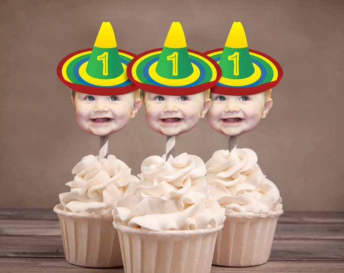 Sombrero Photo Cupcake Toppers, Digital Files only , fiesta, Mexican, party decor, Mexican, Latin, Mexican theme, Sombrero hat topper
