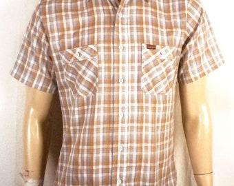 vtg 70s 80s Wrangler Western Button Down Plaid Shirt soft thin Indie sz S/M