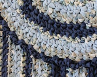 "Rag Rug, Blue Rag Rug, 26"" x 41"" Crocheted Oval Rag Rug, Blue Rug, Cottage Chic Decor, Shabby Chic Decor, Crochet Rag Rug"
